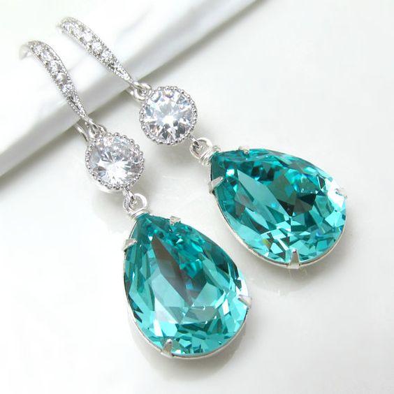Teal Blue Earrings Swarovski Crystal Light by BeYourselfJewelry