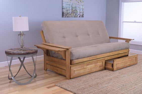 Rosemount Full Size Sofa Futon and Drawer Set, Honey Oak Wood Frame and Suede Innerspring Mattress, Peat