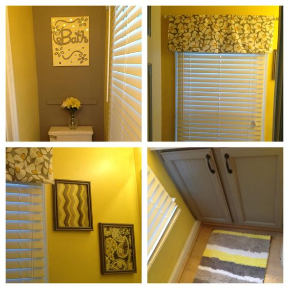 Gray and yellow bathroom for less than 100 decor for for Bathroom ideas yellow and gray
