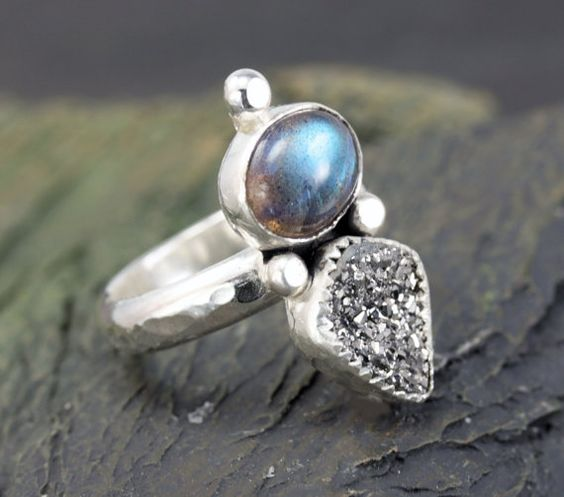 Labradorite and Drusy Ring, Sterling Ring, Handmade Silver Jewelry, Semi Precious Stone Ring, One of a Kind on Etsy, $87.00