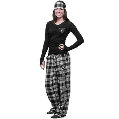 #Fanatics  Oakland Raiders Ladies Crossroad Burnout Pajama Sleep Set With Mask - Black