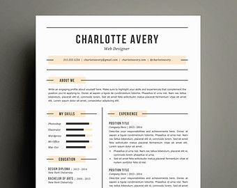 Resume Template and Cover Letter Template for Word | DIY Printable Resume 4 Pack | Digital Instant Download | The Charlotte | Modern Design