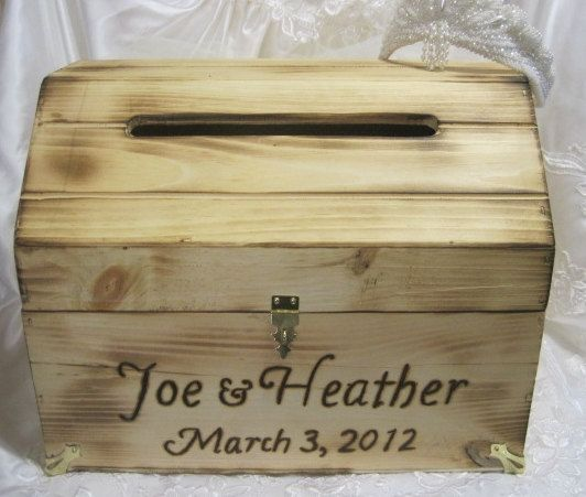 Large Wedding Card Box Rustic Keepsake Chest Woodburned Natural – Large Wedding Card Box