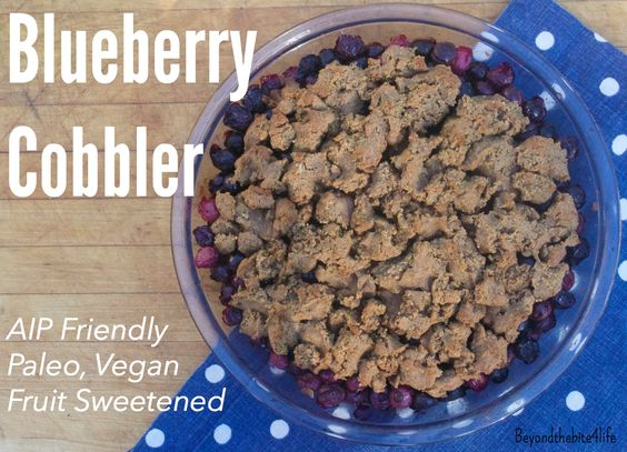 AIP/Paleo Blueberry Cobbler (Fruit sweetened, vegan, coconut-free)