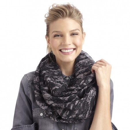 Women's Black Grey Polyester Marbled Print Infinity Scarf by Sole Society