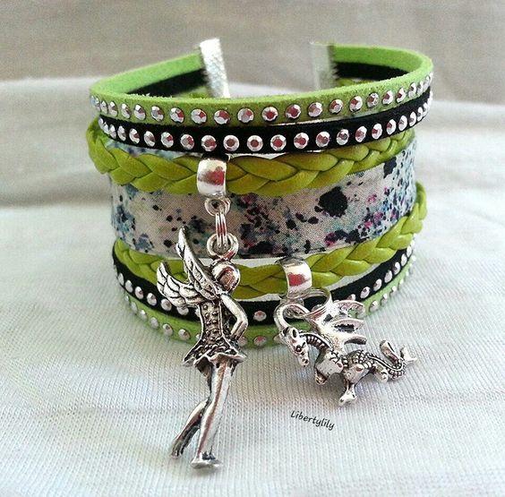 Bracelet Manchette très large Liberty véritable vert et noir Simili cuir tressé Dragon et fée : Bracelet par libertylily