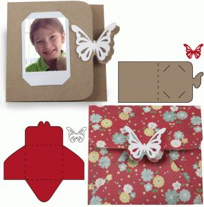 Silhouette Online Store - View Design #60782: instant photo butterfly card and envelope