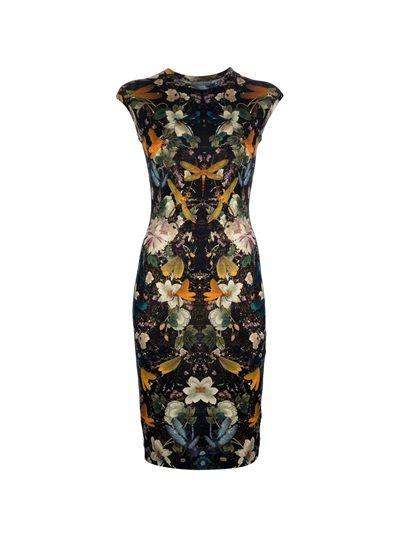 ALEXANDER MCQUEEN Mid-Length Floral Print Dress