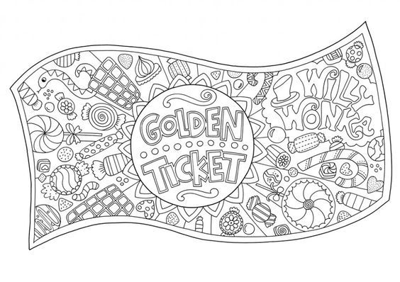 Free Golden Ticket Colouring Download Chocolate Factory Wonka