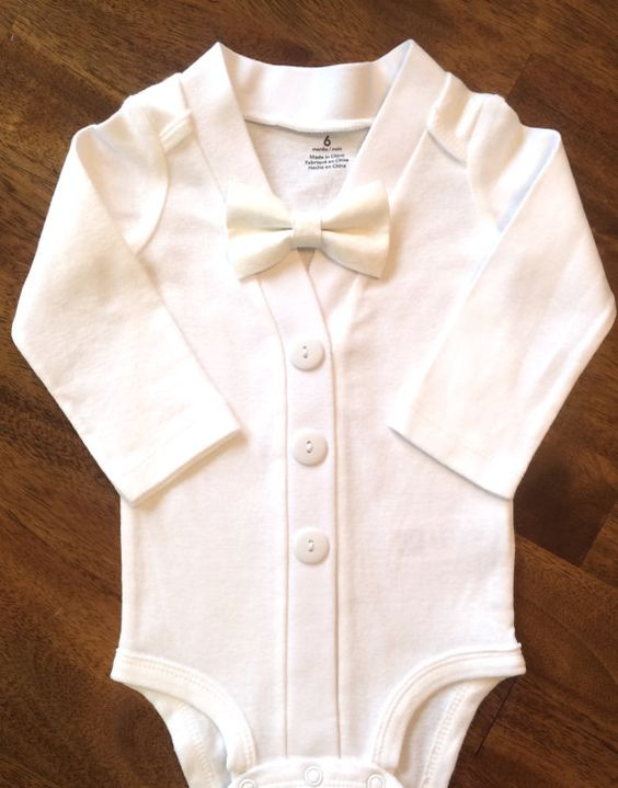 Baby Boy Baptism Outfit with Bow Tie Boys' Christening by ColbyAve