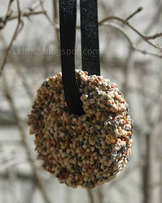 Bird treats.  Mix 3/4 cup of bird seed with 2 tbsp of flour and 2 tbsp of water. Fill a cookie cutter, squish it then remove cookie cutter.  Cut a drinking straw and insert not too close to the edge. (hole for ribbon ) Bake at 170F for 1 hour. Once cool remove straw and add ribbon.