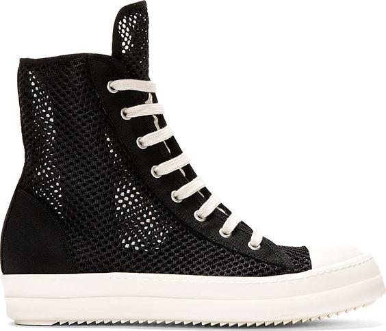 Rick Owens Drkshdw Black Double-Mesh Ramones Sneakers