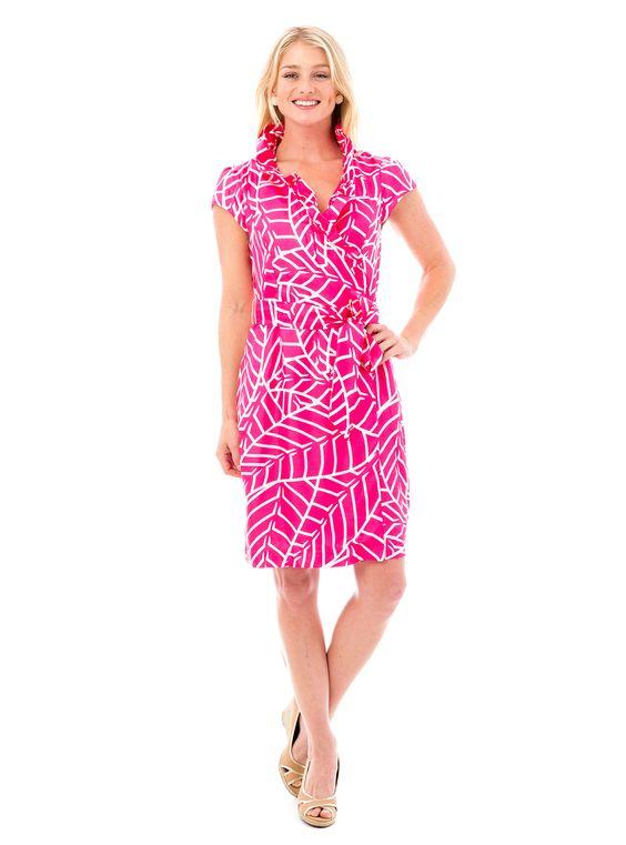 Scotland Dress in Pink Leaf