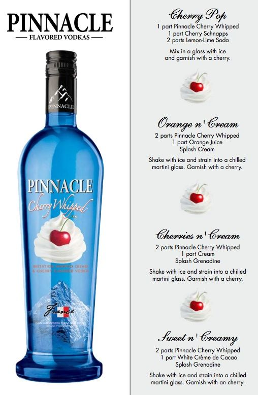 Pinnacle cherry whipped alcohol pinterest cherries for Flavored vodka martini recipes