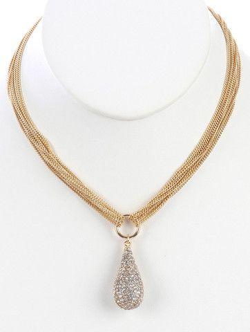 Gold Pave Teardrop Pendant Necklace – JaeBee Jewelry