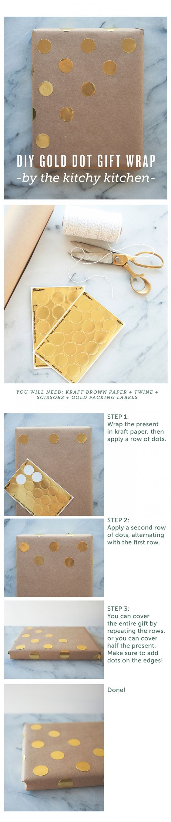 gold dot // diy gift wrapping // the kitchy kitchen | envoltorios