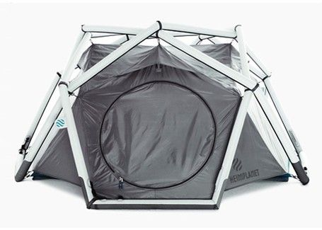 """The inflatable tent """"The Cave"""" from HEIMPLANET stands for a new way of camping. Assembling of parts is unnecessary. Inner tent, fly sheet and the inflateble frame IDG work as a union and enable a very quick and uncomplicated set-up (inflation): just unpack it and inflate it - welcome home!"""
