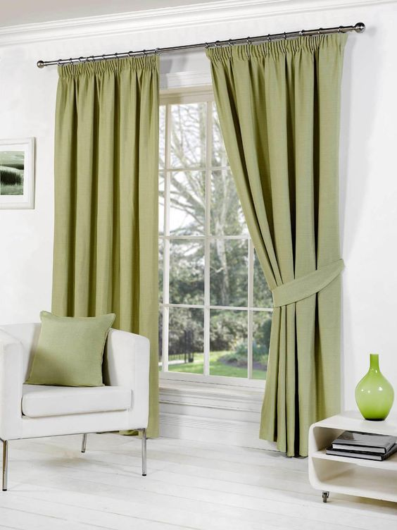 Rome Ready Made Lined Curtains Green | Pencil Pleat Curtains ...