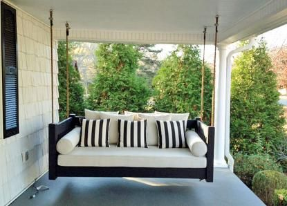Hanging Porch Beds, Swinging Porch Beds--sounds like a great thing to have  in a screened in porch.   For the Home   Pinterest   Swinging porch bed, ...