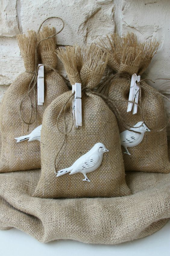 Burlap Gift Bags or Treat Bags, Burlap and Hand Painted, White, Distressed Metal Bird, Shabby Chic Weddings
