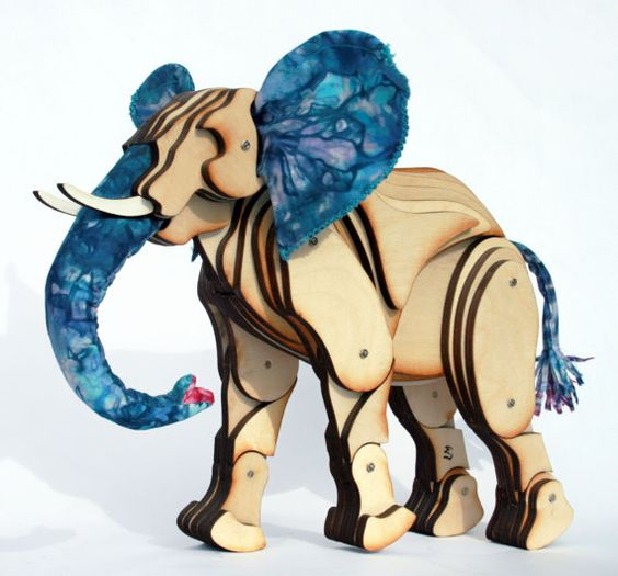 Articulated Elephant with Blue Ears & Tail by LauraMathewsArtist, £200.00