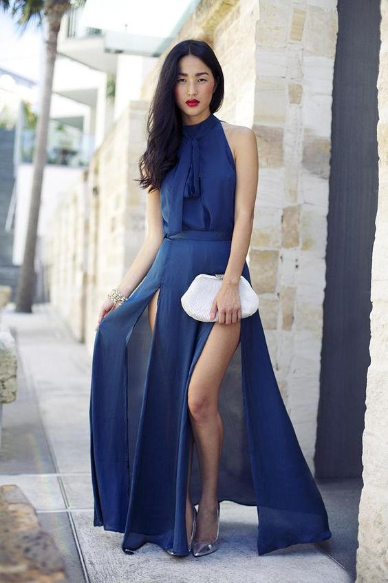 navy blue chiffon dress gorgeous clothes slit and silver heels ...