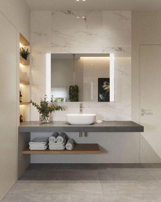 55 Bathroom Lighting Ideas For Every Style - Modern Light Fixtures #bathroomdesign