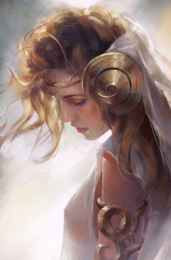 Aura é uma boréade, ou seja, uma filha de Bóreas e Oritía. É irmã gêmea de Quione, deusa da neve; Aura é a deusa da brisa congelante, dos frios ventos que levam a neve, e, assim, trabalha junto de sua irmã; seu animal sagrado é o lince, e é patrona de todas as aves que habitam o inverno.  Diferentemente da irmã, Aura é doce e gentil. É descrita como uma mulher de olhos azuis, cabelos loiros e brilhantes, e, por vezes, tem asas brancas iridescentes.: