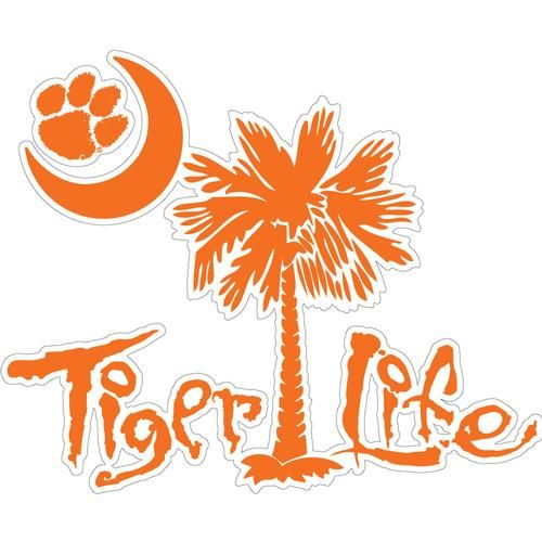 Clemson Tiger Life With Palmetto Tree Decal