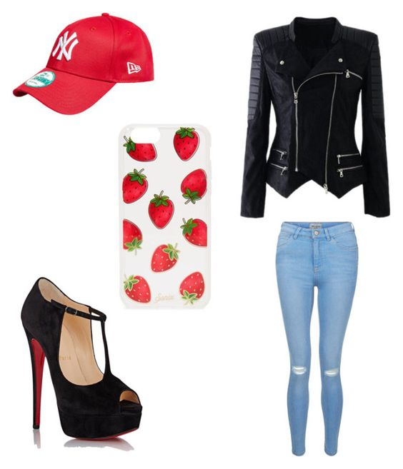 """""""stranberry"""" by bland-l ❤ liked on Polyvore featuring New Look, Christian Louboutin and Sonix"""
