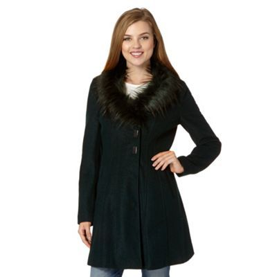 Red Herring Dark green fit and flare coat- at Debenhams.ie | coats