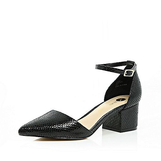 Black block heel pointed shoes - £35.00 ImWearingRI RiverIsland