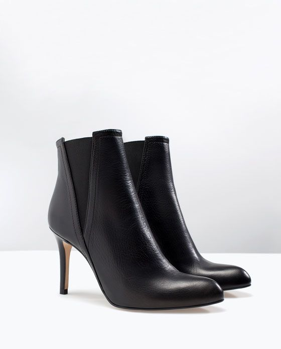 LEATHER HIGH HEEL ANKLE BOOTS