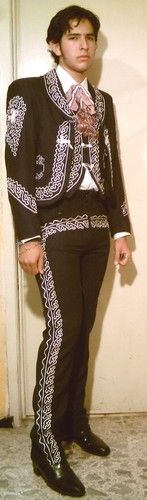 charro costume mexican outfit blackwhite mariachi all