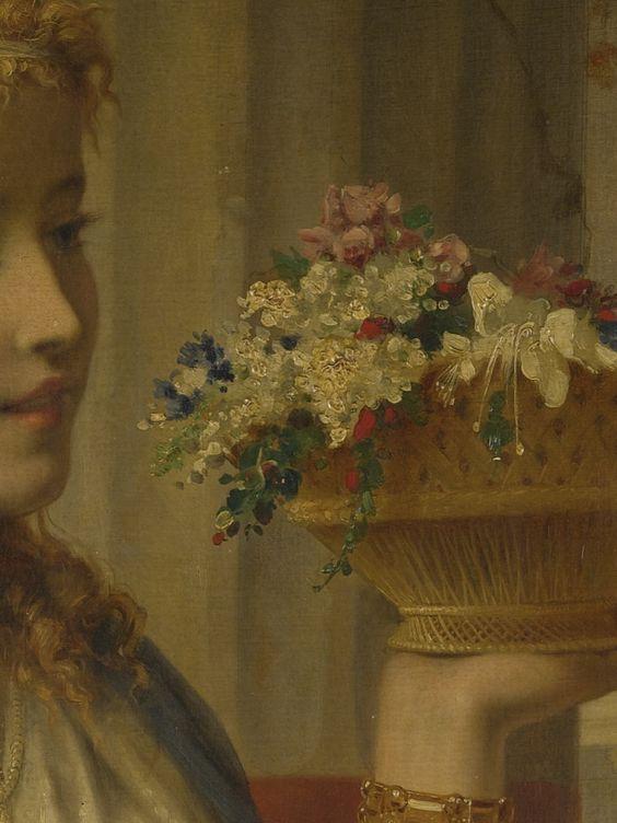Jeune fille aux fleurs (Détail) Pierre Olivier Joseph Coomans . 1871