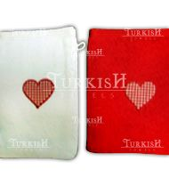 Red and white bath glove with heart motif embroidered