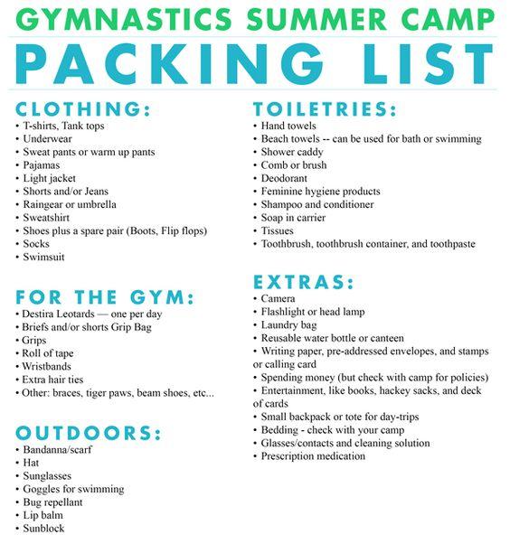 Gymnastics summer camp packing list