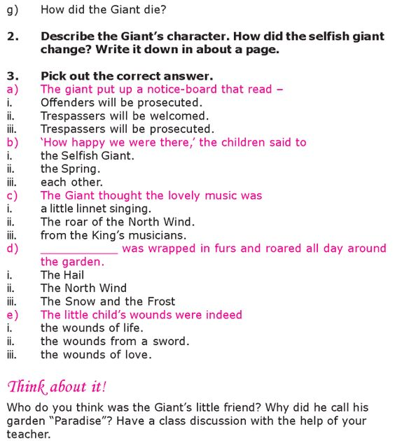 Worksheets English  Short Stories Grade 6 grade 6 reading lesson 20 short stories the selfish giant 6