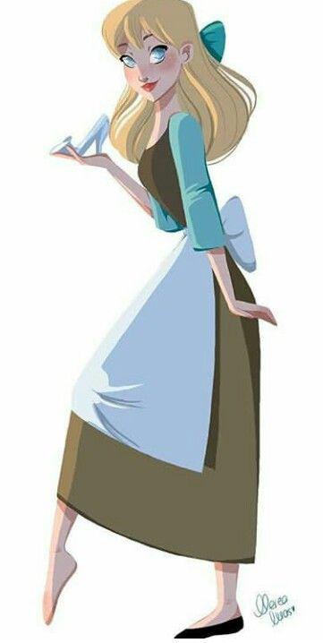 Cinderella with her glass slipper