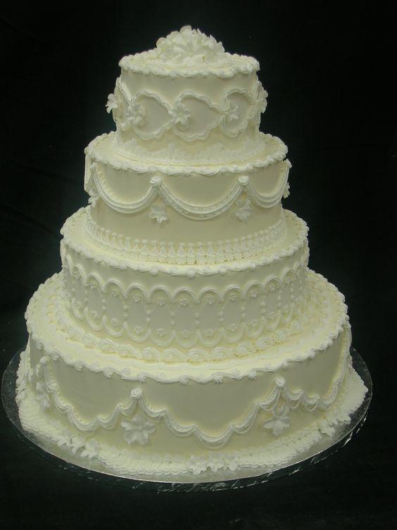 Catering Cake Design : Butercream Wedding Cake Design 125 : Strossner s Bakery ...