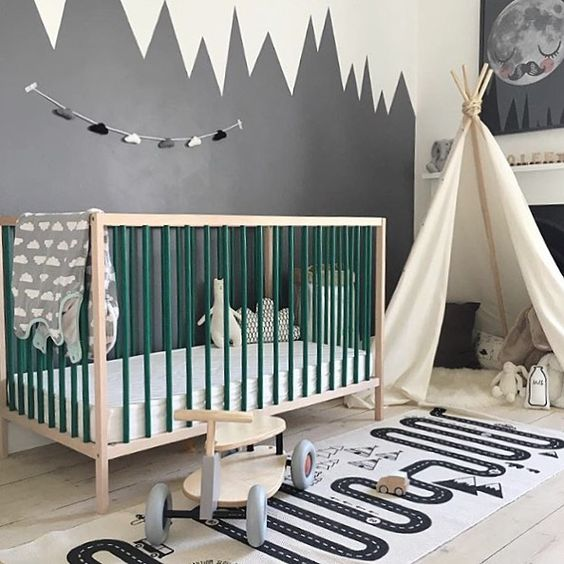 We love this beautiful kid's room! Featuring the very popular OYOY Adventure rug, available online. . Gorgeous image by our lovely customer @toatyadventures #kidsroom #kidsroomdecor #oyoylivingdesign #kidsinterior: