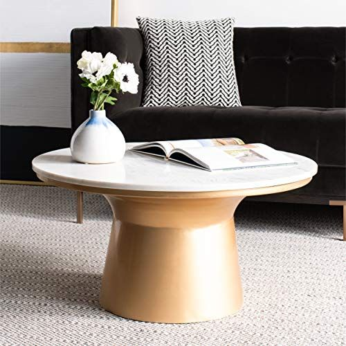 Mila White Marble And Brass Pedestal Coffee Table Sale Coffee Tables Shop Buymorecoffee Com Coffee Table White Pedestal Coffee Table Coffee Table