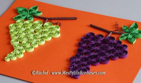 bricolage raisin en papiergrappes en quilling  idées
