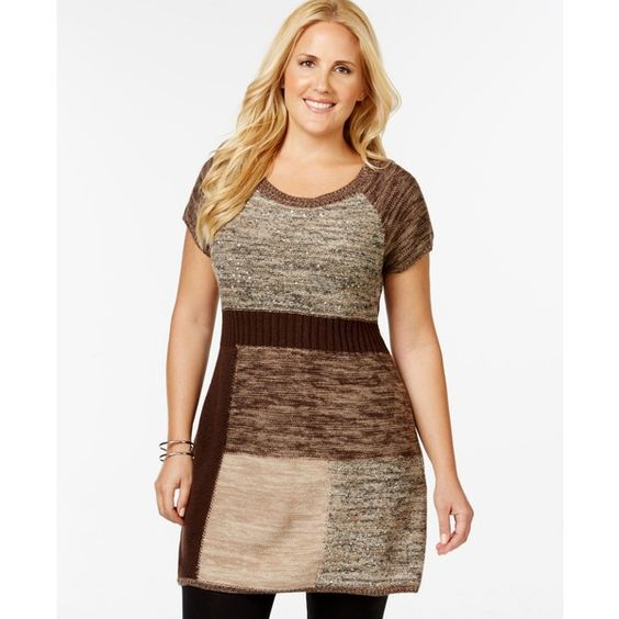 Style & Co. Plus Size Sequined Patchwork Tunic Sweater ($36) ❤ liked on Polyvore featuring tops, sweaters, new rye combo, plus size tops, style & co., brown tops, brown sweater and womens plus sweaters