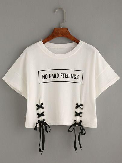 Camiseta estampado letras con cord n blanco manga - Letras para serigrafia ...
