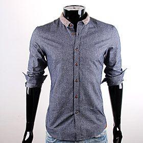 CUBFACE Men's Royal Blue Business Leisure Shirt