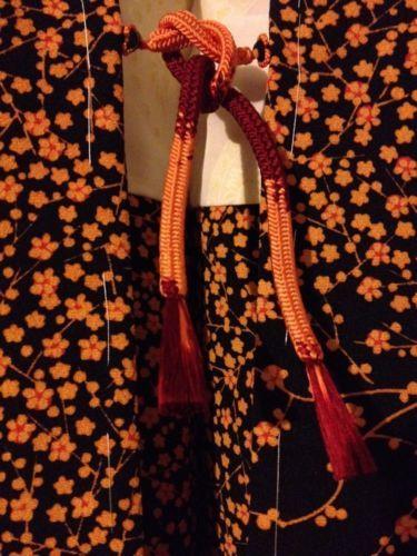 Japanese Kimono Silk HAORI VINTAGE & NEW black Apricot Blossoms GEISHA uRazen 15