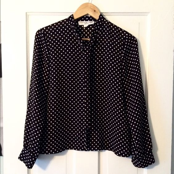 Polka dot blouse! A must have! Josephine Chaus blouse! I don't know the size but it fits like a small/medium! Tie at the collar! Black with white dots! Josephine Chaus  Tops Blouses