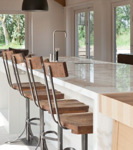 Elm bar stools for bespoke kitchen designed and made by Artichoke in Somerset, England. www.artichoke-ltd.com
