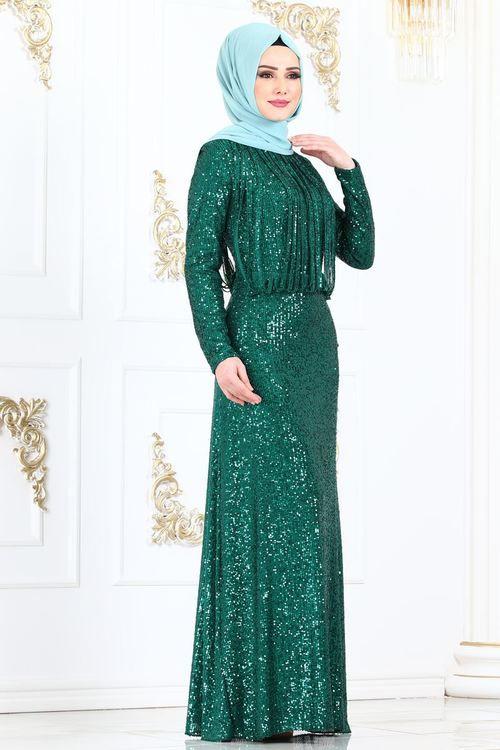 Modaselvim Abiye Seritli Pul Payet Abiye Ech7305 Zumrut Moda Stilleri Elbiseler The Dress